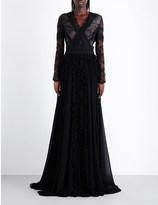 Antonio Berardi Floral-lace cutout chiffon gown
