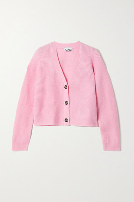 Ganni Cropped Ribbed-knit Cardigan - Pink