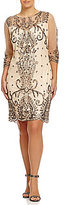 Pisarro Nights Plus Illusion Sleeve Beaded Sheath Dress