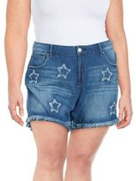 Jessica Simpson Plus Distressed Star Denim Shorts