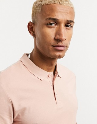 ONLY & SONS polo in pique pink