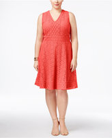 Charter Club Plus Size Lace Fit & Flare Dress, Only at Macy's