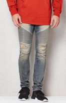 PacSun Stacked Skinny Moto Medium Tint Stretch Jeans