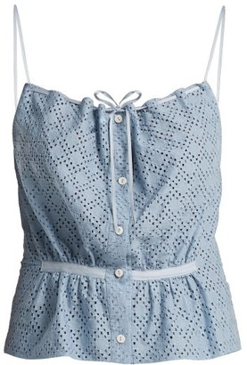 Raey Button-through Broderie-anglaise Cami Top - Light Blue