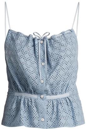 Raey Button-through Broderie-anglaise Cami Top - Womens - Light Blue