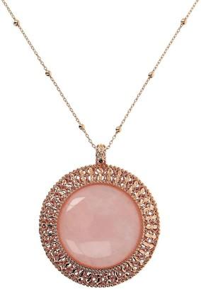 """Bronzo Italia Rosetone Gemstone Pendant with 32"""" Chain"""