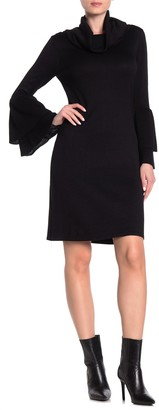 Nina Leonard Cowl Neck Bell Sleeve Sweater Dress