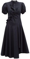 Peter Pilotto Asymmetric Ruffled Cotton Midi Dress - Womens - Navy