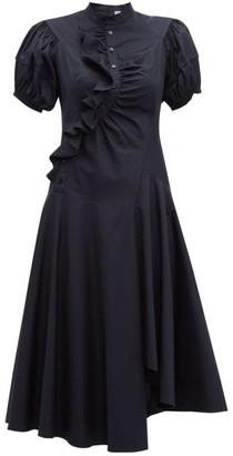 Peter Pilotto Asymmetric Ruffled Cotton Midi Dress - Navy