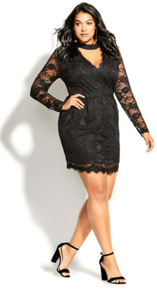 City Chic Roxy Dress - black