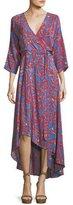 Diane von Furstenberg Bracelet-Sleeve Asymmetric-Hem Printed Silk Wrap Dress