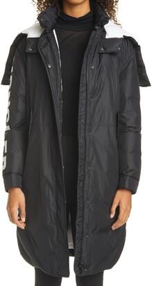 Moncler Hugon Logo Sleeve Water Resistant Down Raincoat