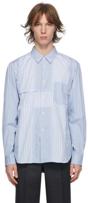 Comme des Garçons Homme Deux Blue Paneled Stripe Shirt