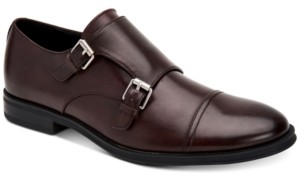 Calvin Klein Men's Winthrope Crust Leather Double Monk Strap Shoes Men's Shoes
