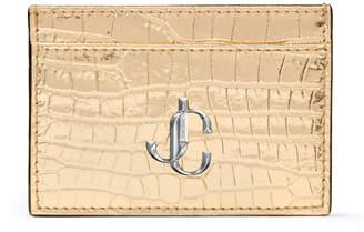 Jimmy Choo UMIKA Light Gold Metallic Croc-Embossed Leather Card Holder