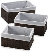 Redmon 3-Piece Basket Storage Set with White Liners in Espresso