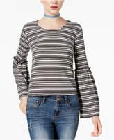 Love, Fire Juniors' Striped Rib-Knit Bell-Sleeve Top