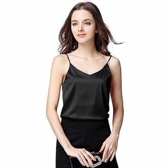 MRULIC Vest Tops Ladies Girls Women Chic Silk Solid Camisole Bottom Blouse Shirt Soft Satin Tank Top Crop Vest Tank T-Shirt Tunic Pullover Tee Black
