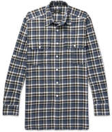 Dunhill Checked Cotton-flannel Shirt - Blue