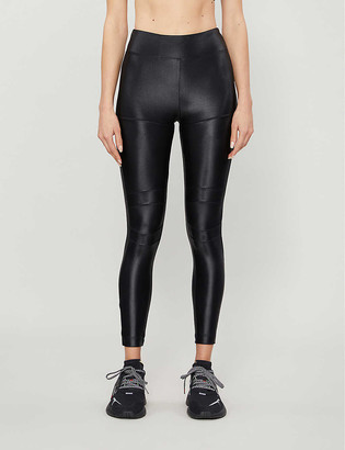 Koral Moto satin high-rise stretch-jersey leggings