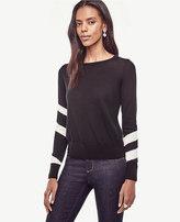 Ann Taylor Striped Sleeve Merino Wool Sweater