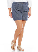 Intro Plus Hailey Stripe Print Twill Shorts