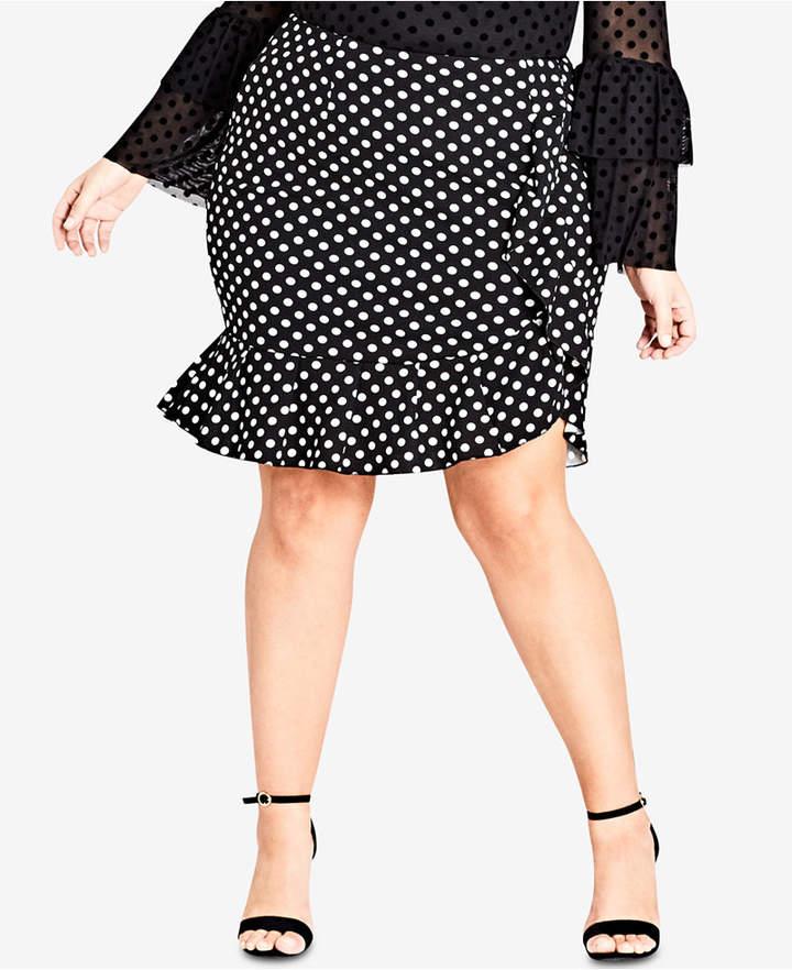 Trendy Plus Size Ruffled Faux-Wrap Skirt