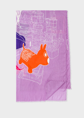 Women's Mauve Embroidered 'Paul's Room' Motif Cotton Scarf