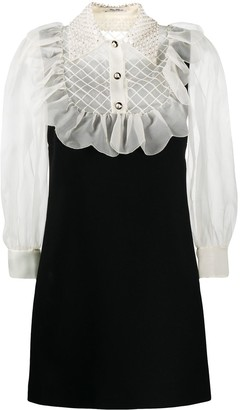 Miu Miu Embellished Long-Sleeve Ruffle Dress