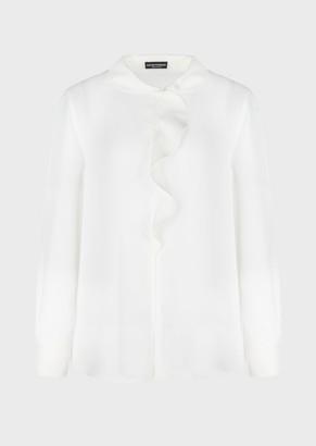 Emporio Armani Double Silk Georgette Blouse With Ruffle