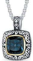 Ice 5 CT TW Topaz Rhodium-Plated Sterling Silver Pendant Necklace