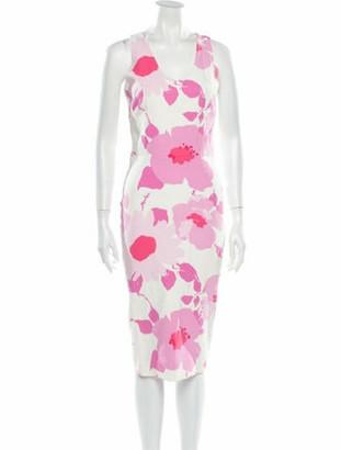 Victoria Beckham Floral Print Midi Length Dress White