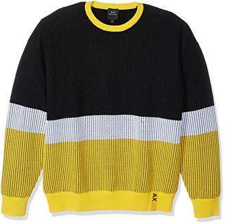 Armani Exchange A|X Men's Textured Knit Colorblock Pullover