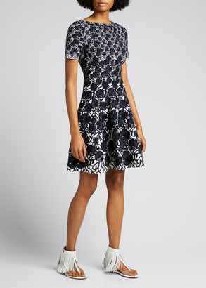 Alaia Floral Wool Jacquard Short-Sleeve Flare Dress