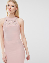 True Decadence Petite Bandage Dress With Lattice Detail