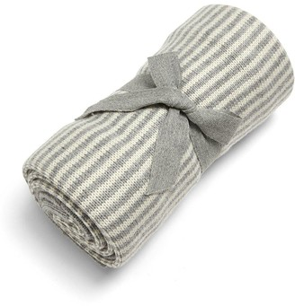 Mamas and Papas Knitted Blanket - Grey & White Stripe