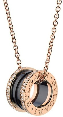 Bvlgari B.zero1 18K Rose Gold, Black Ceramic & Diamond Pendant Necklace