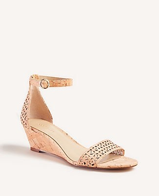 Ann Taylor Giuliana Perforated Cork Wedge Sandals