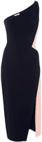 Cushnie et Ochs One Shoulder Color Blocked Cocktail Dress