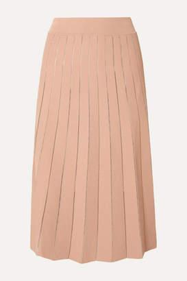 BEIGE Casasola CASASOLA - Pleated Stretch-knit Midi Skirt