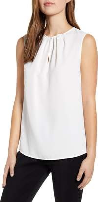 Ming Wang Pleated Neck Crepe Tank