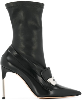 Alexander McQueen metal bar moccasin-style boots