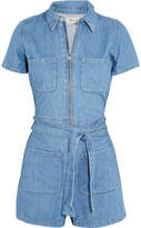 Madewell Cotton And Linen-blend Playsuit - Blue