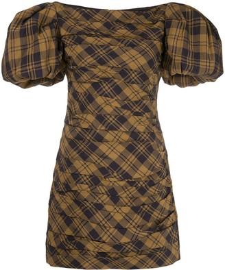 KHAITE Plaid Print Gathered Mini Dress