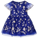 David Charles Royal Blue and Gold Embroidered Tulle Dress
