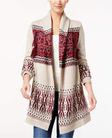 Style&Co. Style & Co Patterned Fringe Cardigan, Created for Macy's