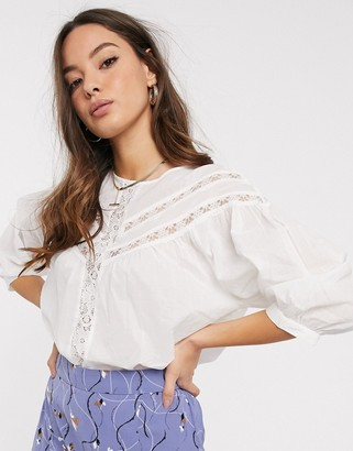 Vero Moda blouse with lace insert in white