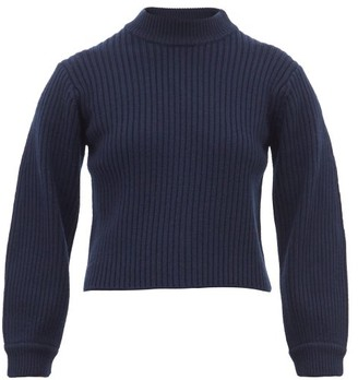 Tibi Neck-slit Balloon-sleeve Ribbed Wool Sweater - Womens - Navy