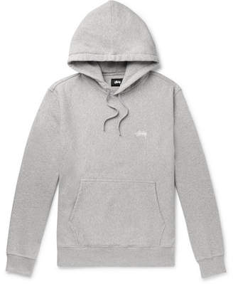 Stussy Logo-Embroidered Melange Fleece-Back Cotton-Jersey Hoodie