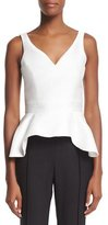 Carolina Herrera Sleeveless V-Neck Peplum Top, Ivory